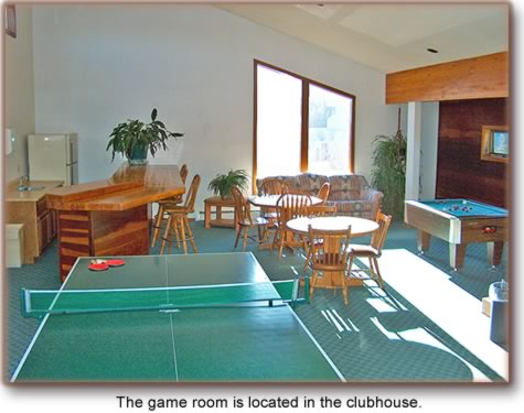 The game room is located in the clubhouse.